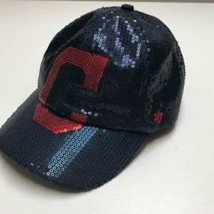 47 Brand MLB Sequin Cleveland Indians Ball Cap Hat